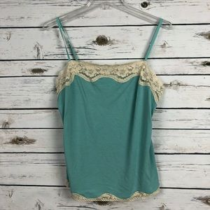 Ann Taylor large dusty blue lace Cami tank